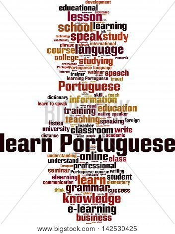 Learn Portuguese word cloud concept. Vector illustration