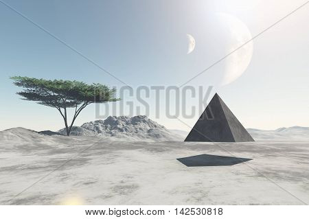 Pyramid flying over deserted land of unknown planet 3D illustration