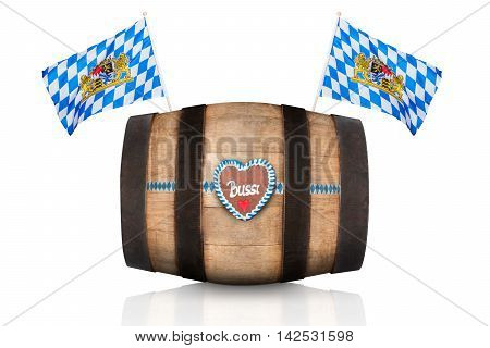 bavarian german beer barrel with flags isolated on white background ready for the beer celebration festival in munich