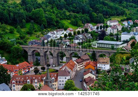 Railway viaduct in Hornberg surrounded by Black forest, Schwarzwald, Germany
