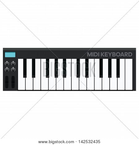 Vector Illustration in Flat Style of a Modern MIDI Keyboard