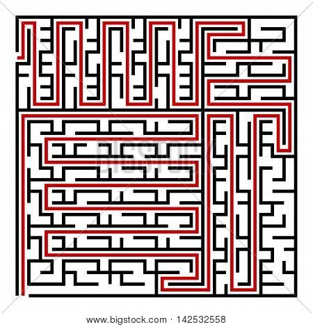 Black square maze(24x24) with help on a white background, vector