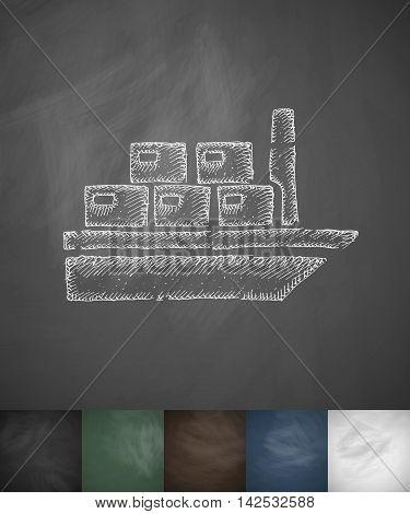cargo ship icon. Hand drawn vector illustration. Chalkboard Design