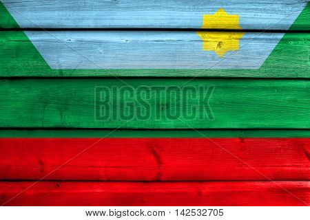Flag Of Chachapoyas, Peru, Painted On Old Wood Plank Background