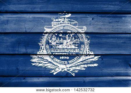 Flag Of Charleston, South Carolina, Usa, Painted On Old Wood Plank Background