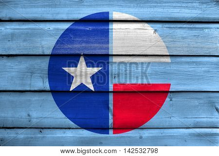 Flag Of Collin County, Texas, Usa, Painted On Old Wood Plank Background