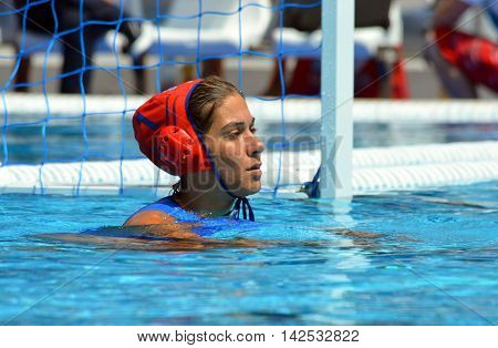 Budapest Hungary - Jul 16 2014. Greece's goalkeeper .KOUVDOU Eleni (GRE 1). The Waterpolo European Championship was held in Alfred Hajos Swimming Centre in 2014.