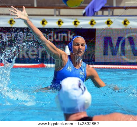 Budapest Hungary - Jul 16 2014. TSOUKALA Christina (GRE 2) defending against the brittish team. The Waterpolo European Championship was held in Alfred Hajos Swimming Centre in 2014.