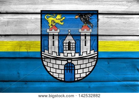 Flag Of Czestochowa With Coat Of Arms, Poland, Painted On Old Wood Plank Background
