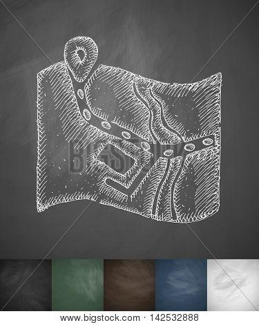 route icon. Hand drawn vector illustration. Chalkboard Design
