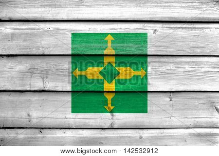 Flag Of Distrito Federal, Brazil, Painted On Old Wood Plank Background
