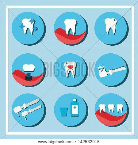 Dental care symbols. Teeth dental care mouth health set with inspection dentist treatment isolated vector illustration.