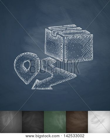 destination icon. Hand drawn vector illustration. Chalkboard Design