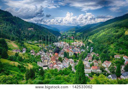 Beautiful nature of Schwarzwald mountains near Hornberg, Baden Wurttemberg, Germany