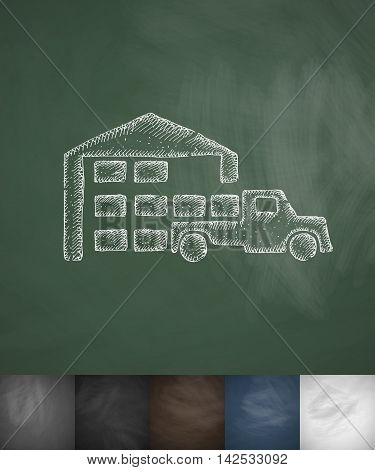 warehouse and the truck icon. Hand drawn vector illustration. Chalkboard Design