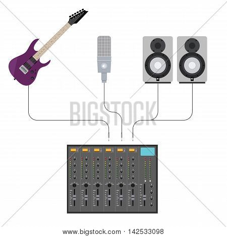 Vector Illustration in Flat Style of Studio Mixer With Plugged Music Gear Including Guitar, Microphone and Acoustics