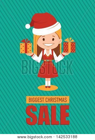 Giggest Christmas sale, holiday banner with woman seller in Santa Clause costume. Vector illustration