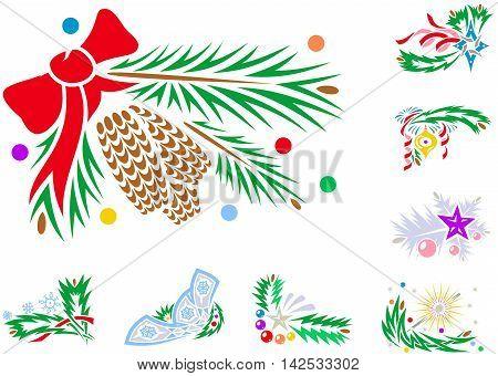 Set Of Winter Holiday Xmas Decorations