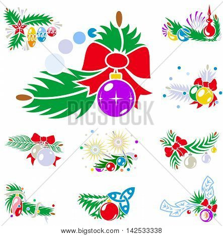 Set Of Winter Holiday Decorations With Xmas Balls
