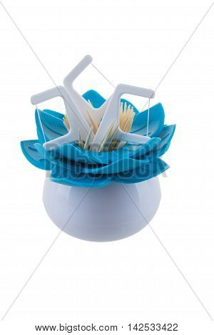 Dental Floss Toothpick flower, on a white background