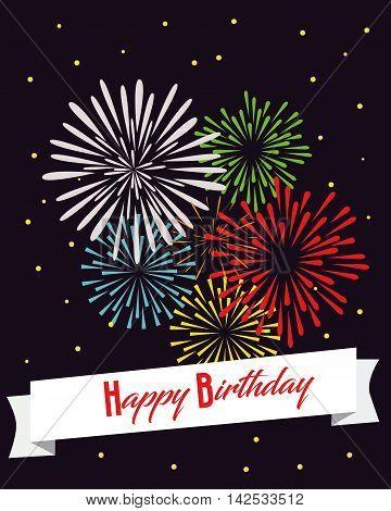 Background fireworks , birthday greetings card . Vector illustration