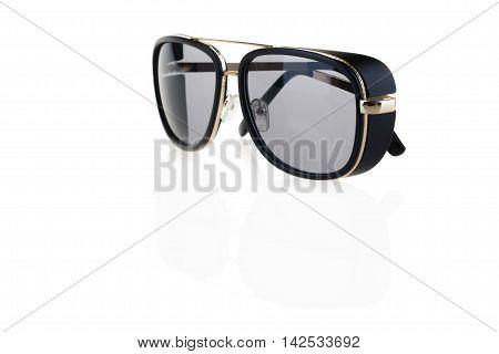 black sunglasses on white, on a white background