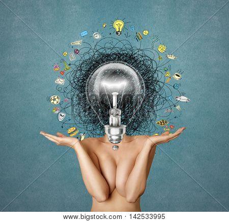 lamp head woman have got a great idea
