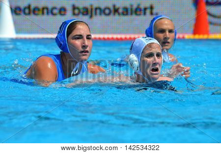 Budapest Hungary - Jul 16 2014. .PLEVRITOU Eleftheria (GRE 11) defending against WINSTANLEY-SMITH Angela (GBR 10). Waterpolo European Championship was held in Alfred Hajos Swimming Centre in 2014.
