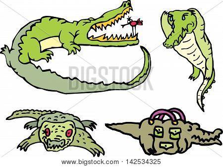 Set Of Comic Gators On A Rest