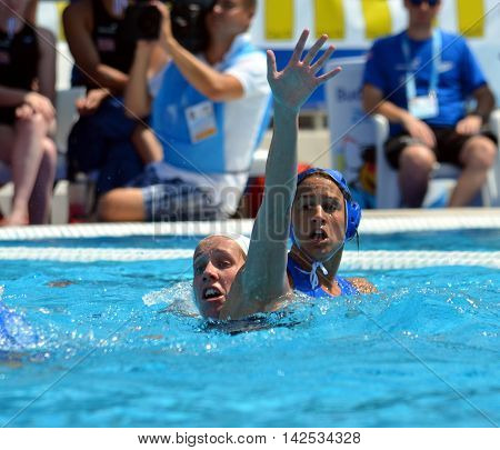Budapest Hungary - Jul 16 2014. Great Britain playing against Greece. The Waterpolo European Championship was held in Alfred Hajos Swimming Centre in 2014.