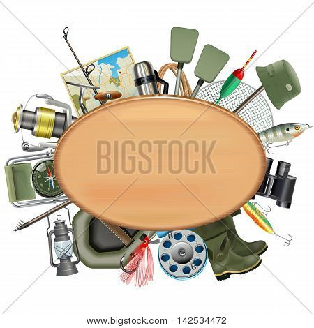 Vector Wooden Board with Fishing Tackle isolated on white background