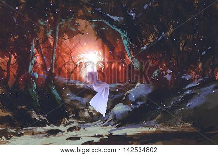 spirit of the enchanted forest, woman in the dark woods, illustration painting