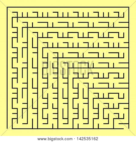 Black square maze(24x24) on a yellow background, vector