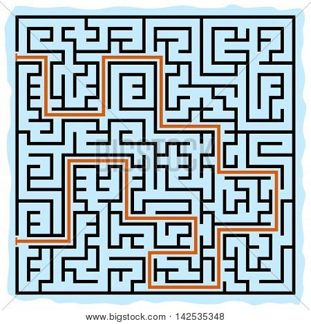 Black square maze(24x24) with help on a blue background, vector