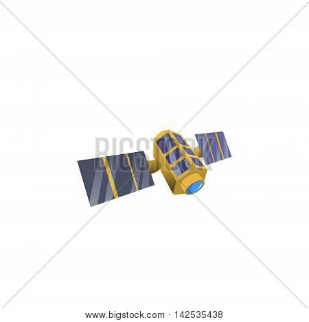 Image space satellite in orbit, flat style. Satellite model of cartoon style.