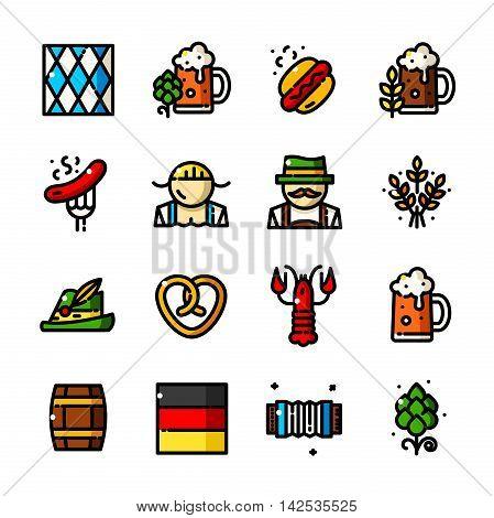 Thin line Oktoberfest icons, Traditional German Festival outline logos vector illustration