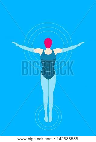 Swimmer Vector illustration Girl swimmer swims in the pool. Top view