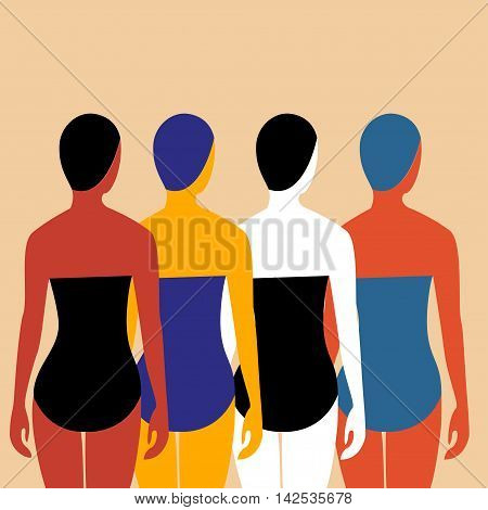 Swimmers Vector illustration Four girls swimmers in bathing suits and swimming caps. The view from the back