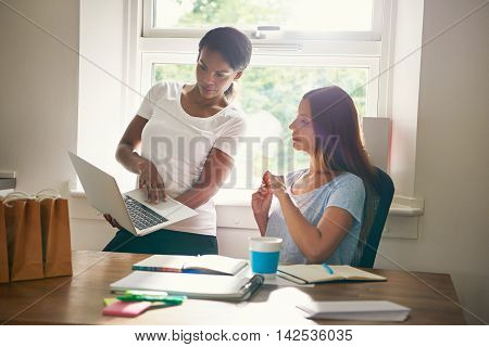 Two businesswomen discussing a project together on a laptop computer as one young woman shows off her progress in development and planning