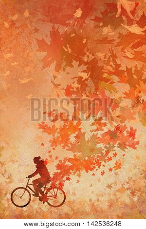 silhouette of man on bicycle with falling autumn leaves on background, illustration painting