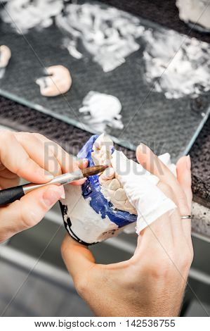 Dental technician paint a false teeth, denture concept