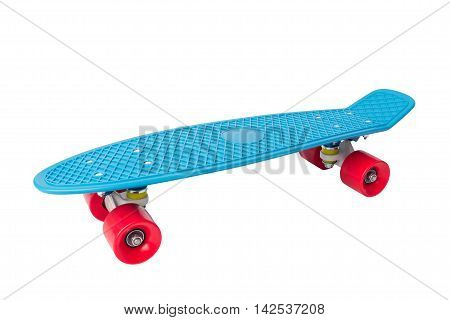Penny Skate board blue with red wheels on white