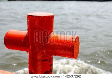 Red mooring mast in Chao Phraya river