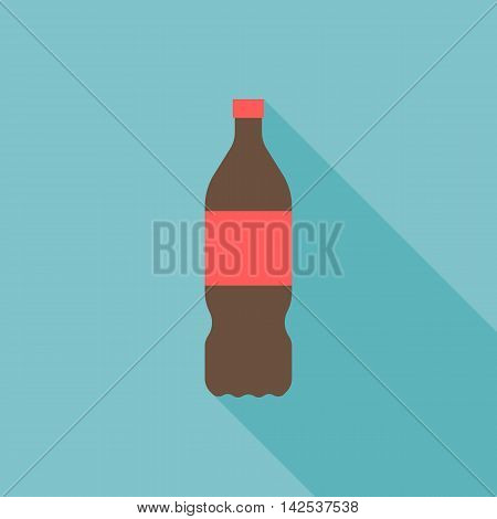 Vector cola bottle icon, flat design with long shadow