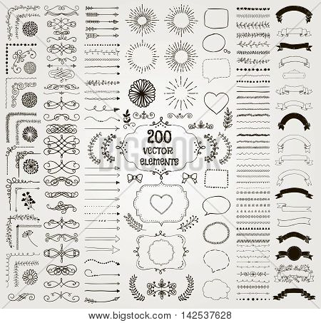 Set of 200 Black Hand Drawn Doodle Design Elements. Rustic Decorative Line Borders, Florals, Dividers, Arrows, Swirls, Scrolls, Ribbons, Banners, Frames Corners Objects. Vector Illustration