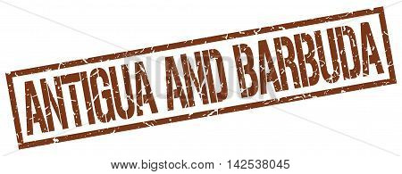 Antigua And Barbuda. stamp. brown. sign. grunge. vintage. square.
