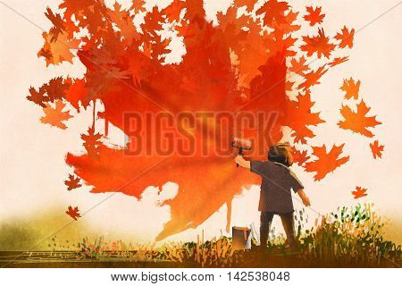 kid painting maple leaves shape on the wall, autumn concept, illustration painting