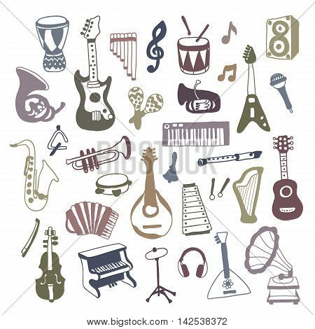 Set of Music Instruments. Beautiful vector design.