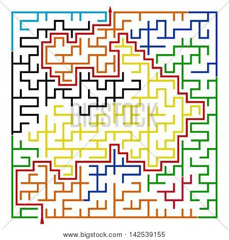 Many-colored square maze(24x24) with help on a white background