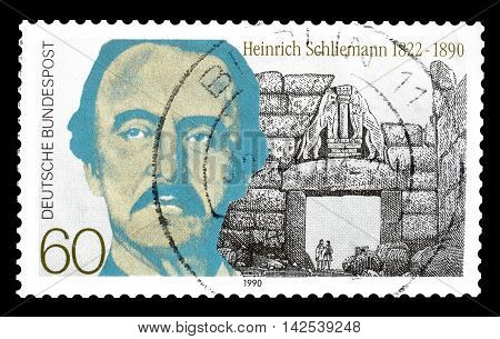 GERMANY - CIRCA 1990 : Cancelled postage stamp printed by Germany, that shows Heinrich Schliemann.